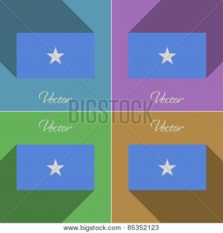 Flags Somalia. Set Of Colors Flat Design And Long Shadows. Vector