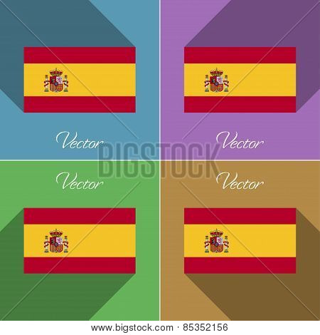 Flags Spain. Set Of Colors Flat Design And Long Shadows. Vector
