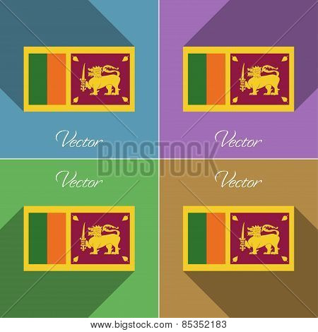 Flags Sri Lanka. Set Of Colors Flat Design And Long Shadows. Vector