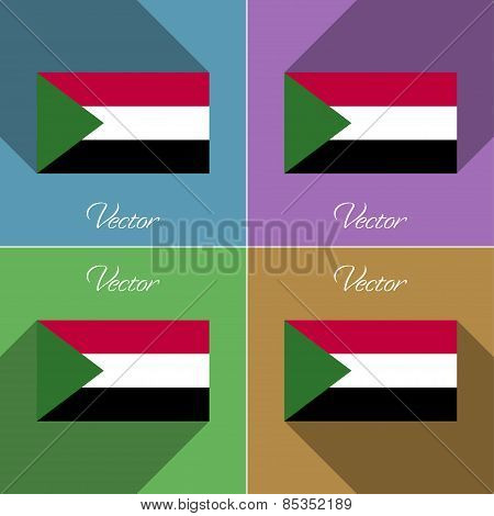 Flags Sudan. Set Of Colors Flat Design And Long Shadows. Vector