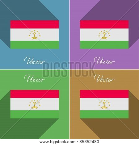Flags Tajikistan. Set Of Colors Flat Design And Long Shadows. Vector