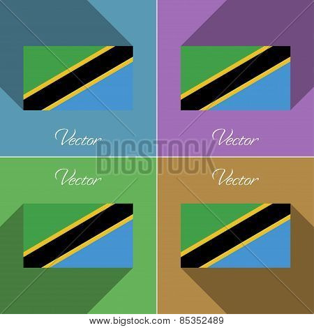 Flags Tanzania. Set Of Colors Flat Design And Long Shadows. Vector