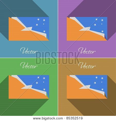 Flags Tierra Del Fuego Province. Set Of Colors Flat Design And Long Shadows. Vector