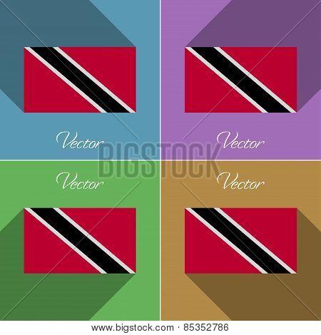 Flags Trinidad And Tobago. Set Of Colors Flat Design Long Shadows. Vector