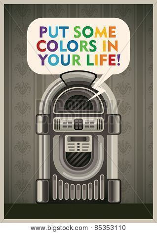 Vintage poster with jukebox. Vector illustration.