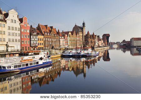 Boulevard Along The Motlawa River In Gdansk, Poland