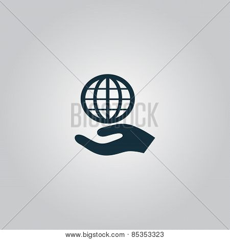Globe icon with hand, vector illustration.