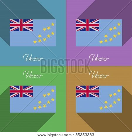 Flags Tuvalu. Set Of Colors Flat Design And Long Shadows. Vector