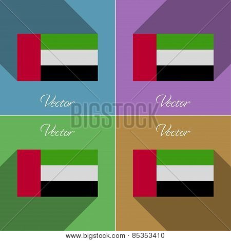 Flags United Arab Emirates. Set Of Colors Flat Design And Long Shadows. Vector