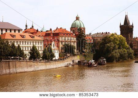 Famous Charles Bridge and tower, Prague, Czech Republic