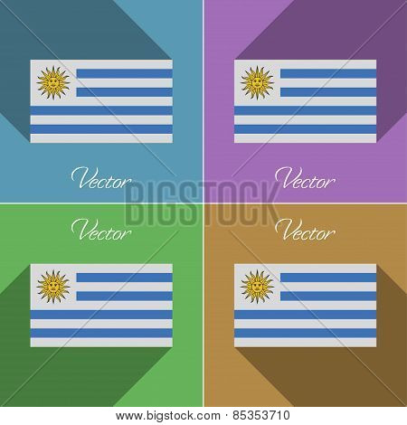 Flags Uruguay. Set Of Colors Flat Design And Long Shadows. Vector