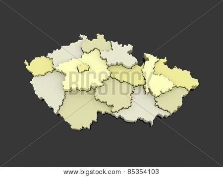 Three-dimensional map of Czech Republic. 3d