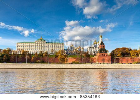 The view of Moscow Kremlin from Moskva river during the daytime