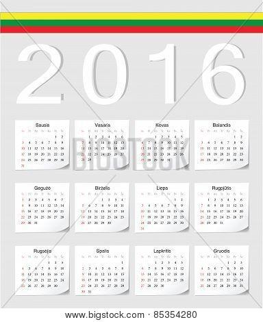 Lithuanian 2016 Calendar