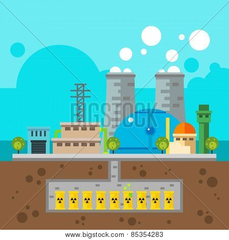 Nuclear Plant And Nuclear Waste Underground Flat Design