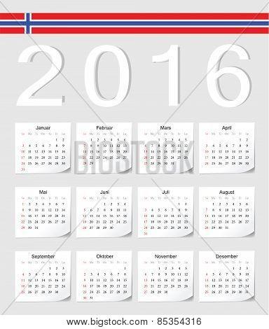 Norwegian 2016 Calendar