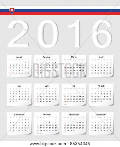 Slovak 2016 Calendar