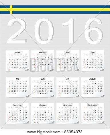 Swedish 2016 Calendar