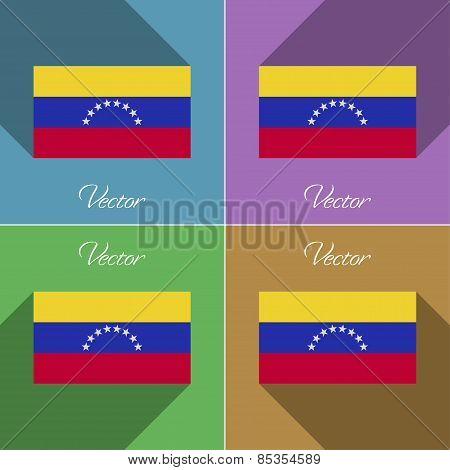 Flags Venezuela. Set Of Colors Flat Design And Long Shadows. Vector