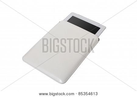 Closed white tablet case