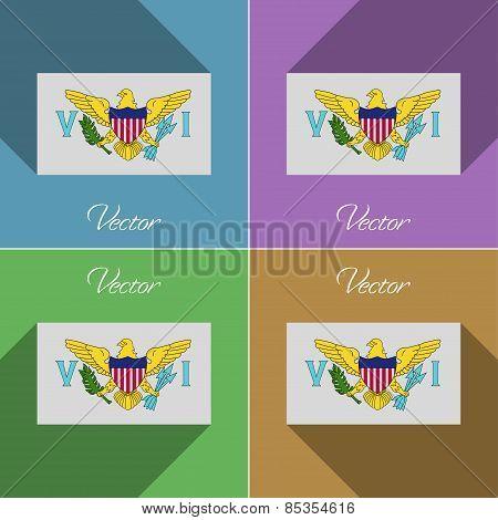 Flags Virginislandsus. Set Of Colors Flat Design And Long Shadows. Vector