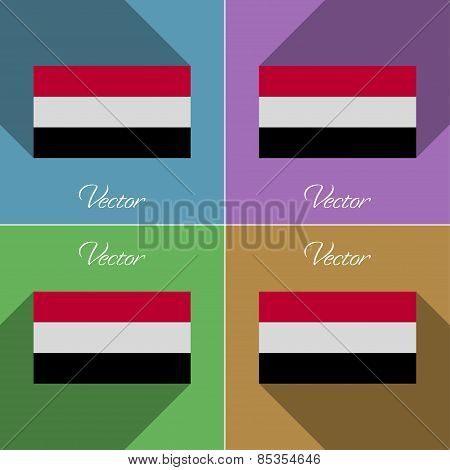 Flags Yemen. Set Of Colors Flat Design And Long Shadows. Vector