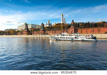 The view of Moscow Kremlin from Moskva river