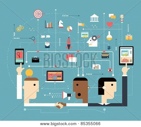 Business People Connect The On line Space