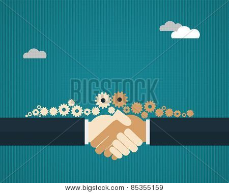 Vector Illustration Two Businessmen Shaking Hands And Sharing Gears