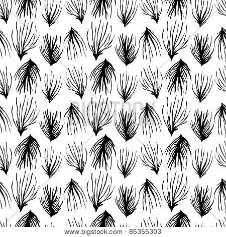 Abstract seamless pattern. Black grass ornament.