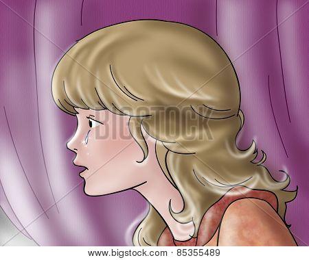 Profile of sad princess