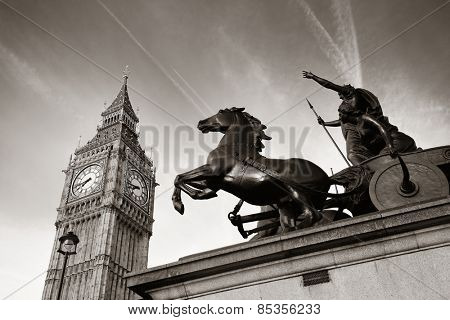 Queen Bodica statue in Westminster in London.