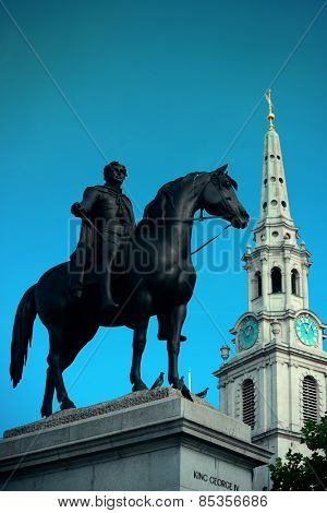 St Martin in the Field church in Trafalgar Square in London with statue