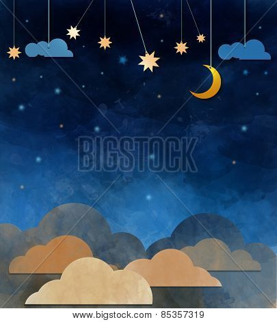 Water Color On Grunge Paper Texture .night Sky,cloud, Moon And Star