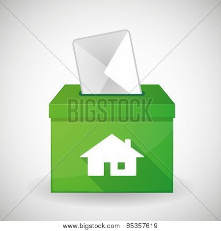 Green Ballot Box With A House
