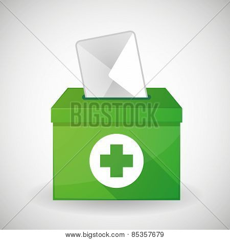 Green Ballot Box With A Pharmacy Sign
