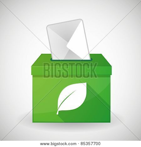 Green Ballot Box With A Leaf