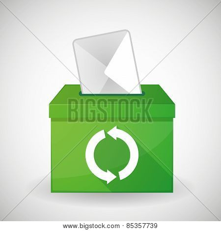 Green Ballot Box With A Recycle Sign