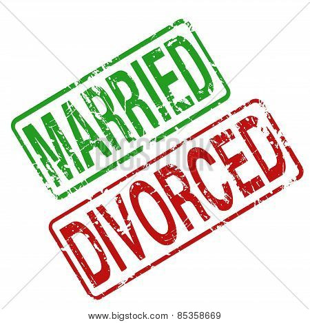 Married  Divorced - vector rubber stamp with grunge style