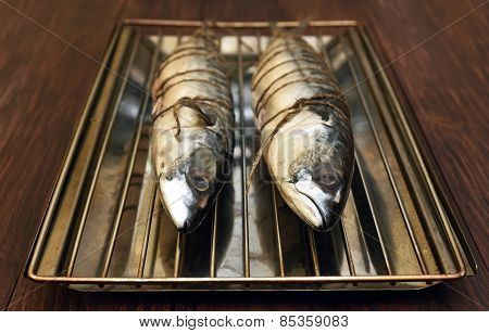 Raw Mackerel Fish Ready For Smoke-dried