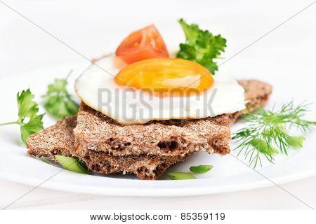 Breakfast Fried Egg On Crispbread