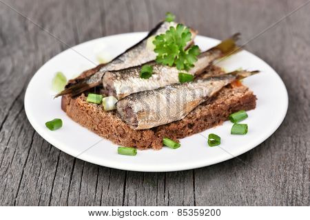 Sandwich With Sprats And Green Onion
