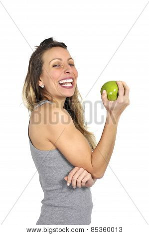 Sexy Beautiful Woman Holding Green Apple Fruit In Healthy Natural Nutrition Concept