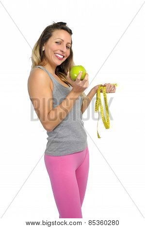 Sexy Beautiful Woman Holding Green Apple Fruit And Measure Tape Diet Concept