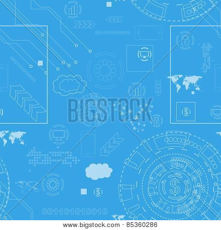 Tech engineering seamless drawing background. Vector design