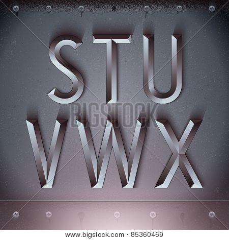Vector Metal Embossed Font from S to X
