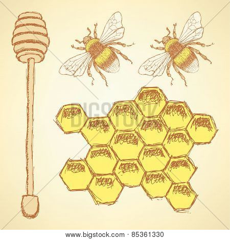 Sketch Honey Cells, Stick And Bee In Vintage Style