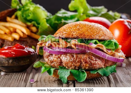Burger With Bacon Close Up.