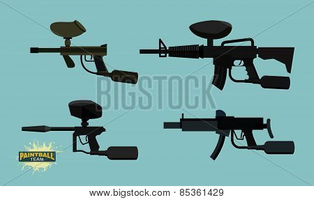 paintball guns set. Vector illustration