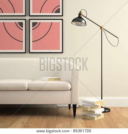 Part of interior with sofa, lamp and books 3D rendering